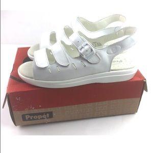 Propet Breeze Walker White Leather Sandals Comfort
